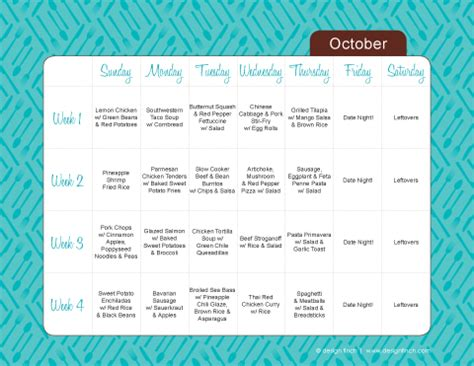 monthly dinner menu template sanity savers part 2 design finch