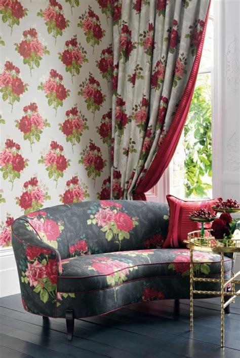 fabric  wallpaper  floral design great interior