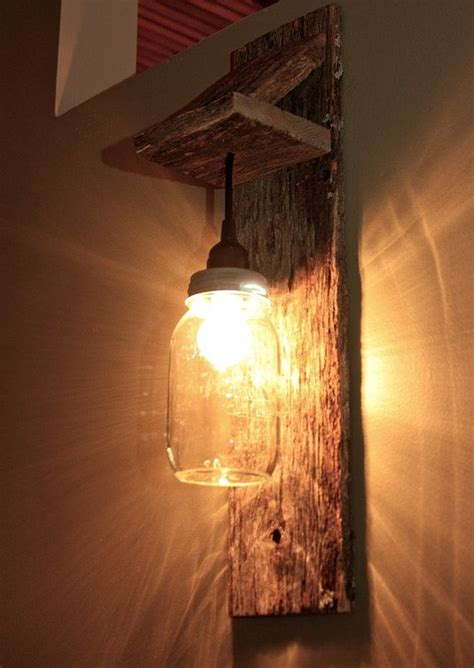How To Make A Sconce Light Fixture Jar Light Fixture Reclaimed Wood Wall Sconce