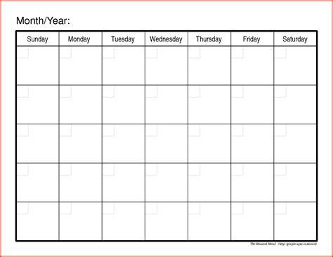 printable calendar templates blank monthly calendar