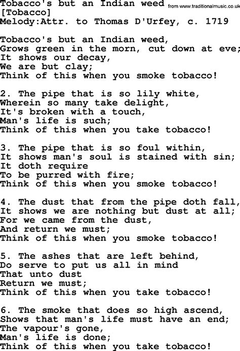 song lyrics india old english song lyrics for tobacco s but an indian weed