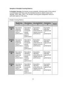 Sample Essay Rubric A Sample Of Analytic Scoring Rubrics