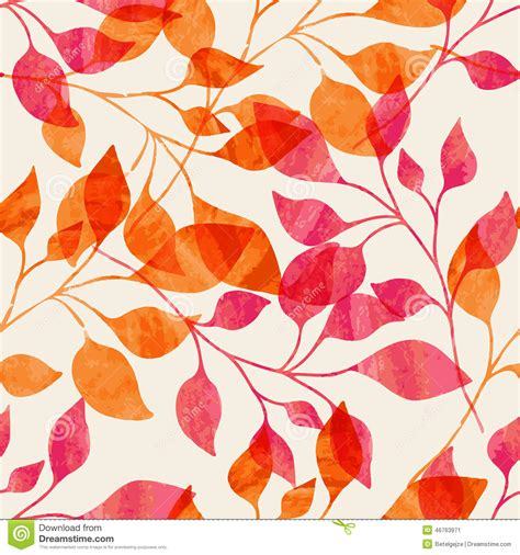 watercolor seamless pattern with pink and orange autumn