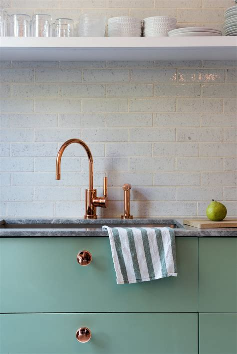 hint of green two tone kitchen with copper accents copper farm sink white painted wood photo 7 of 14 in modern becomes eclectic in this renovated