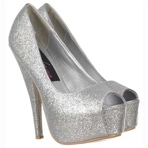 Barratts Platform Peep Toes by Silver Sparkly Heels Www Pixshark Images Galleries