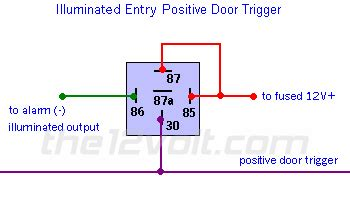 illuminated entry  vehicles  positive door triggers relay wiring diagram