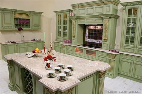 Green Kitchen Cabinets Pictures Of Kitchens Traditional Green Kitchen Cabinets