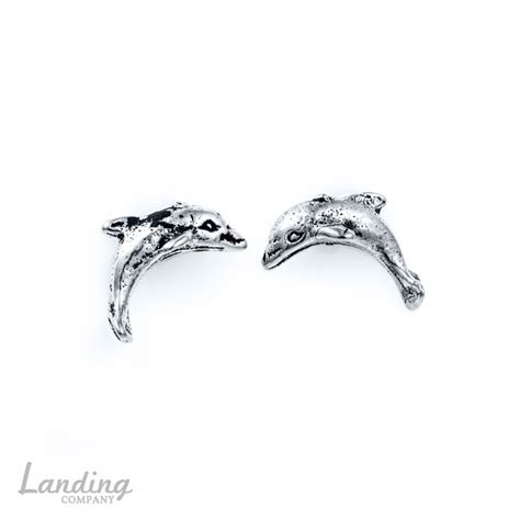 Sterling Silver Dolphin Studs sterling silver dolphin micro stud earrings landing company