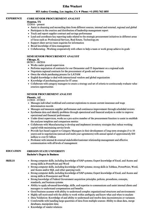 procurement financial analyst job description exle