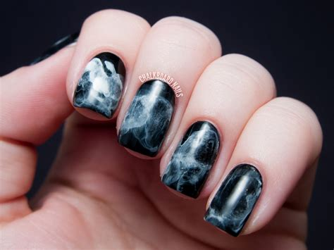 And Nails by 31dc2013 Day 07 Black And White Midnight Smoke Nail