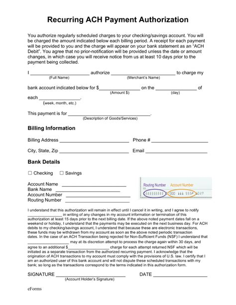Free Recurring Ach Payment Authorization Form Pdf Word Eforms Free Fillable Forms Ach Form Template