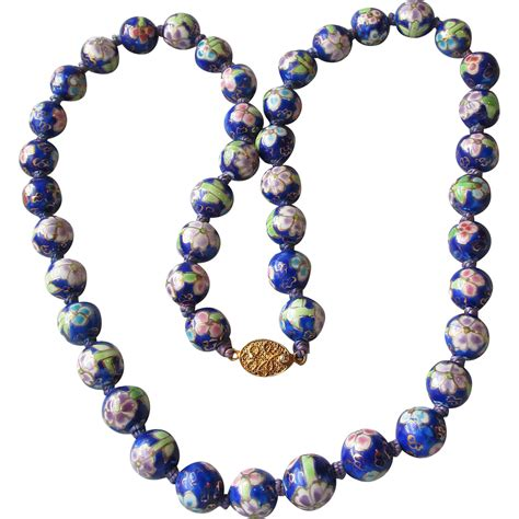 vintage cloisonne bead necklace vintage export cobalt blue lavender large