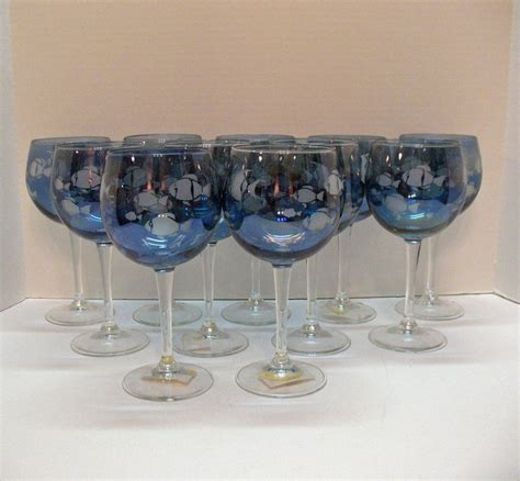 vintage chagne glasses 11 vintage wine glasses with etched fish motif