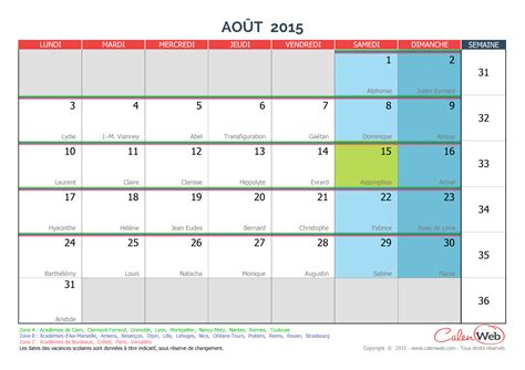 Calendrier 2016 Avec Vacances Scolaires Et Numéro De Semaine Calendrier Jours Feries 2015 Photos De Conception De