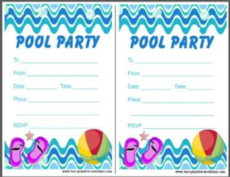 printable invitation cards pool party printable pool party invitation
