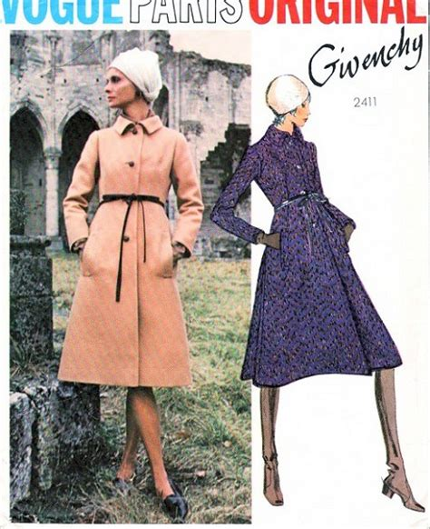 Givency Maxy 1970s givenchy coat pattern vogue original 2411 stunning design semi fitted a line side
