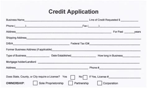 Credit Card Guarantee Form Template Free Business Credit Application Form Melton Norcross Associates