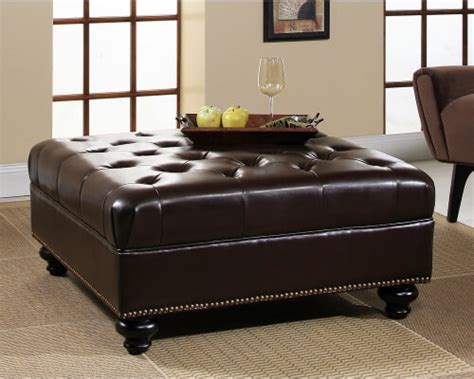 Leather Trimmed Upholstery - 36 top brown leather ottoman coffee tables