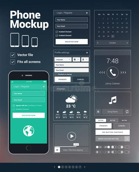 design elements for apps phone ui elements kit for mobile apps development stock