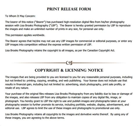 9 Print Release Forms Sles Exles Formats Sle Templates Photography Print Release Form Template