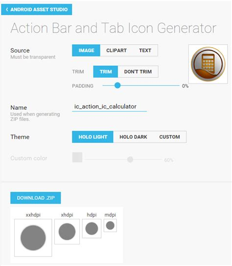 android icon generator android icon generator for actionbar and notification not