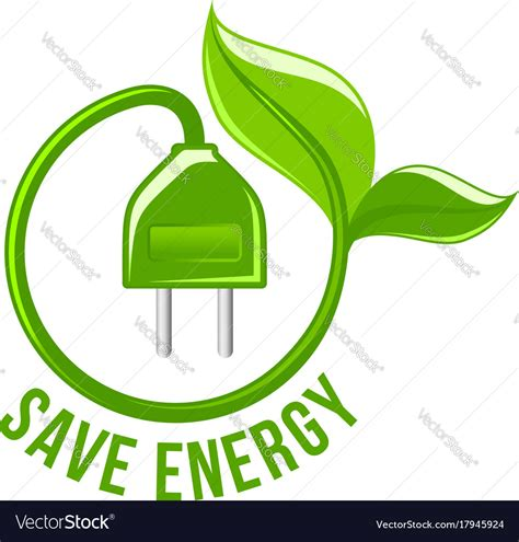 Safe Energy green leaf electric save energy icon vector image