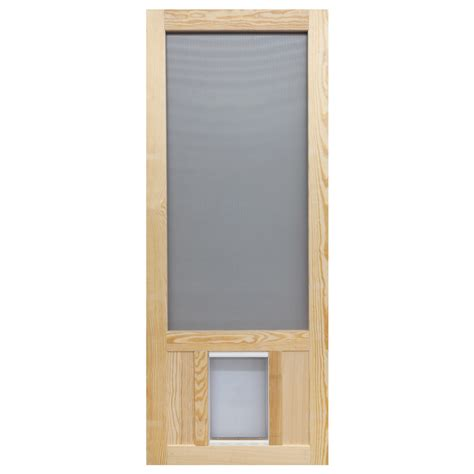 Screen Doors Lowes by Shop Screen Tight Wood Hinged Screen Door With Pet Door