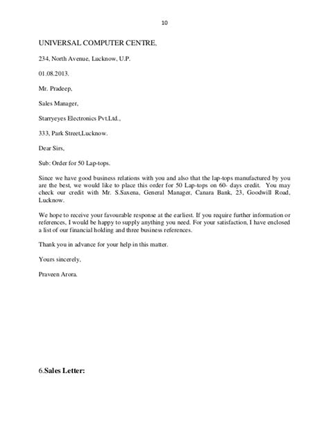 Purchase Order Sending Letter Business Letters