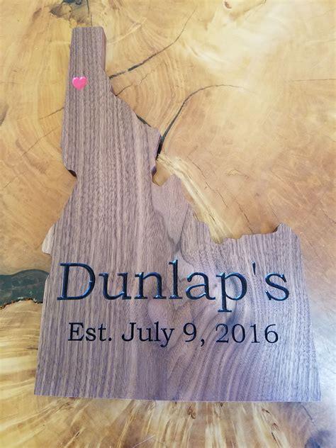 state  idaho family sign walnut hardwood wedding gift