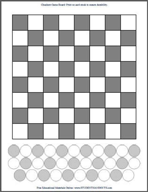 DIY Checkers   Print Your Own Checkerboard   Student Handouts