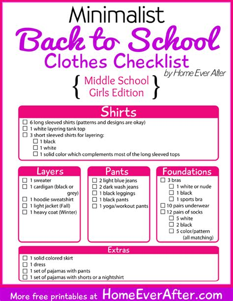 printable shopping list kindergarten free printable minimalist back to school clothes