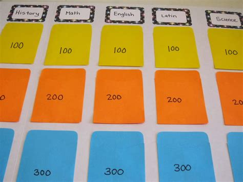 diy jeopardy board diy jeopardy board game templates
