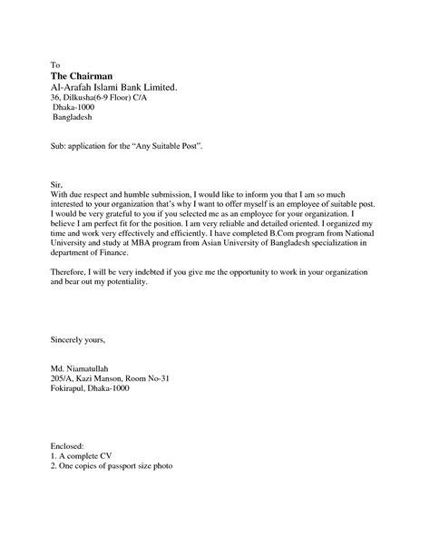 written application letters for job