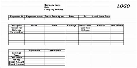 9 free pay stub template excel download pay stub format