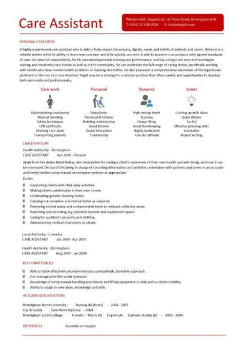 Care assistant CV template, job description, CV example