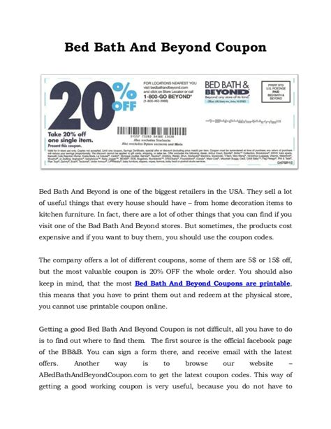 bed bath and beyond 5 00 off printable coupon 20 coupon bed bath