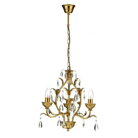 Gold Chandeliers Small Charleston 3 Light Antique Gold Chandelier On A Chain