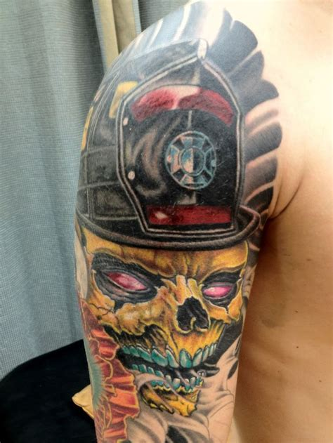 colorful half sleeve tattoo designs 8 firefighter tattoos on half sleeve