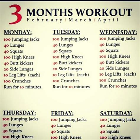 daily exercise schedule miscellaneous
