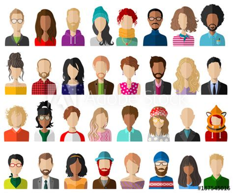 people avatar flat vector set isolated acquista questo