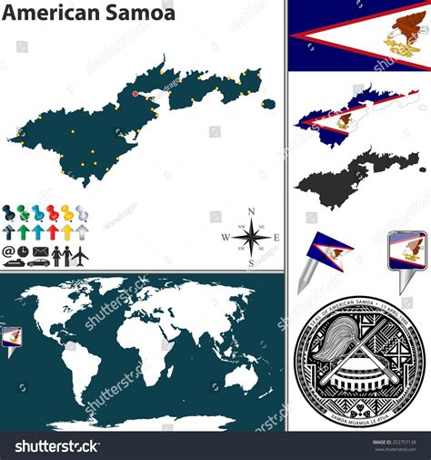 location of samoa on world map vector map of american samoa with coat of arms and