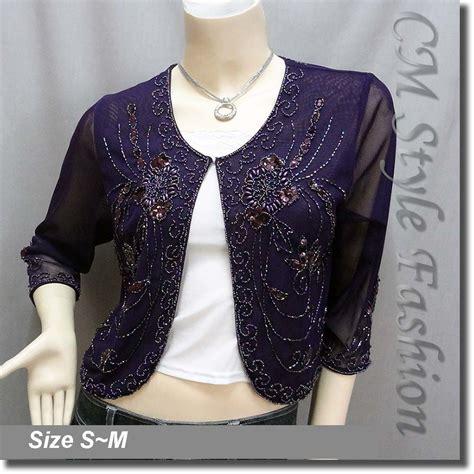 beaded bolero beaded sequin embroidered evening bolero shrug top purple