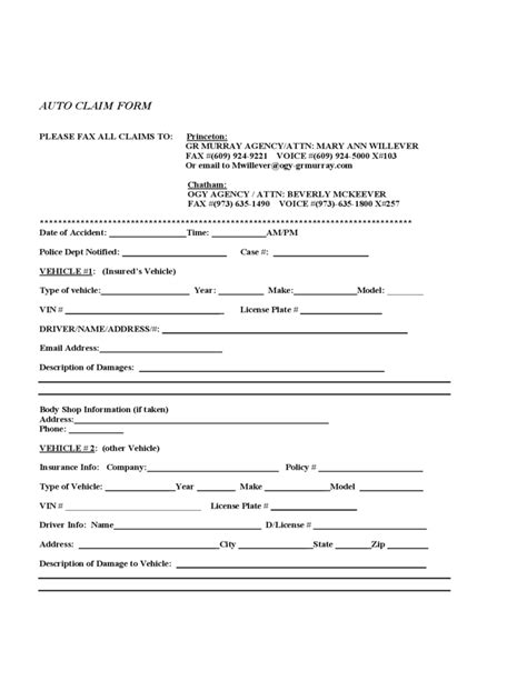 Auto Claim Form Free Download