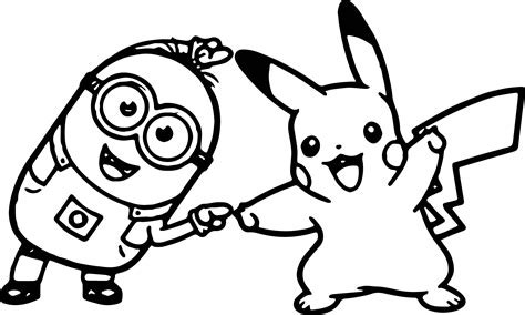 minion golf coloring page minion kevin golf dancing with pikachu coloring page