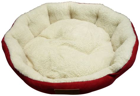 red dog bed ellie bo 24 inch diameter round red dog bed with faux suede sides and fleece lining