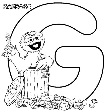Coloring Activity Pages Quot G Quot Is For Quot Garbage Quot Oscar Oscar The Grouch Coloring Page