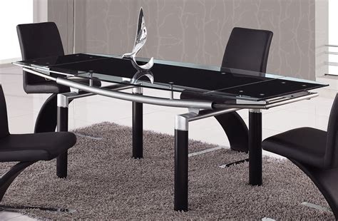 Black Glass Top Dining Table 664 02 Foldable Black Glass Top Dining Table With Black Legs Global Furniture Usa Dining
