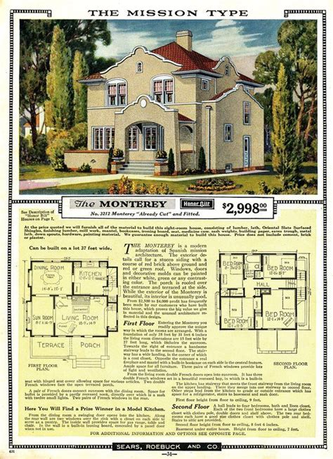sears monterey  offered     sears modern homes catalog blueprints floor