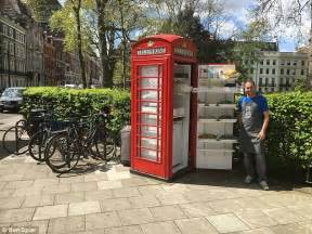 Bookcrossing Telephone Boxes Are The New Cafes by Renovated Telephone Box In Is Serving Salad