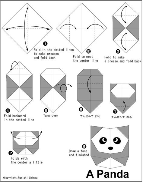 Origami Panda - kid craft oragami pandas and origami
